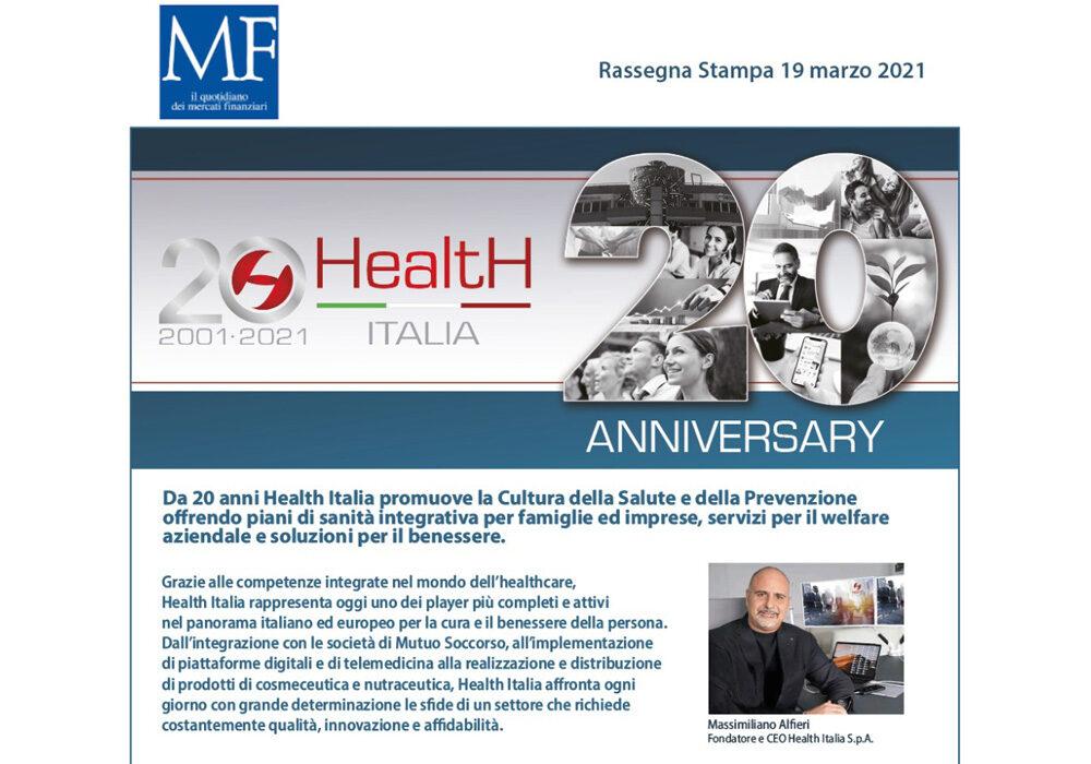 I 20 anni nelle parole di Massimiliano Alfieri, Fondatore e CEO di Health Italia S.p.A.
